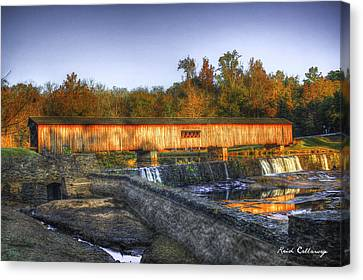 Autumn Sunrise Glow Watson Mill Covered Bridge Canvas Print by Reid Callaway