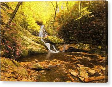 Autumn Waterfall In The Smokies Canvas Print by Dan Sproul