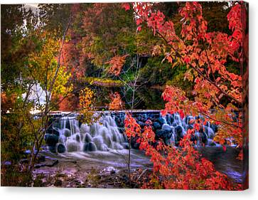 Autumn Waterfall - New England Fall Foliage Canvas Print by Joann Vitali
