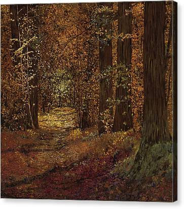 Autunno Nei Boschi Canvas Print by Guido Borelli