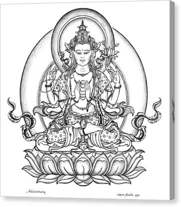 Avalokiteshvara -chenrezig Canvas Print by Carmen Mensink
