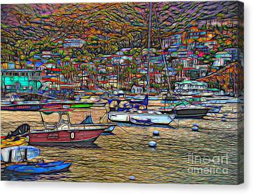 Avalon Harbor Sunset Canvas Print by Norma Warden