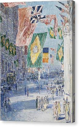 Avenue Of The Allies  Brazil  Belgium Canvas Print by Childe Hassam