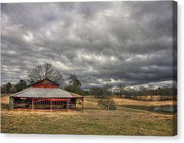 Awaiting Spring The Red Barn Canvas Print by Reid Callaway