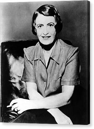 Ayn Rand, 1957 Author Of Atlas Shrugged Canvas Print by Everett