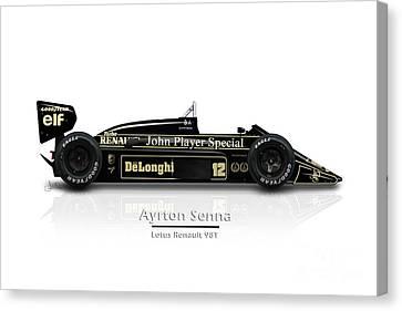 Ayrton Senna - Lotus Renault 98t Canvas Print by Jeremy Owen