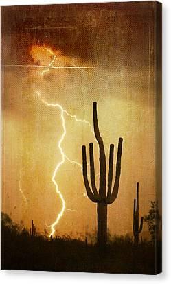 Az Saguaro Lightning Storm V Canvas Print by James BO  Insogna