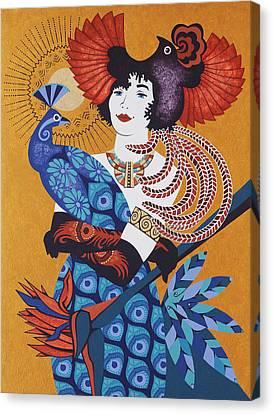 Aztec Bird Goddess Canvas Print by Susan Lishman