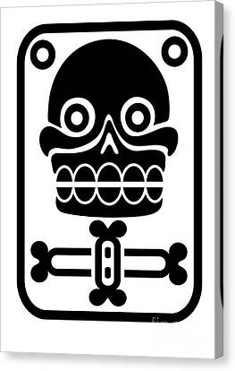 Aztec Stamp With Skull Canvas Print by Michal Boubin