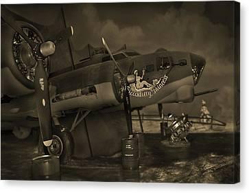 B - 17 Field Maintenance  Canvas Print by Mike McGlothlen