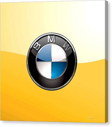 B M W  3 D Badge Special Edition On Yellow Canvas Print by Serge Averbukh