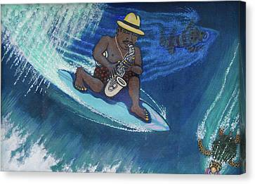 Baba Louie-surfing Sax Frisbee Player Canvas Print by Dickens Fourtyfour