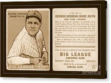 Babe Ruth 1933 Baseball Card Canvas Print by John Stephens
