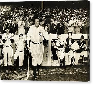 Babe Ruth At Yankee Stadium Canvas Print by Doc Braham