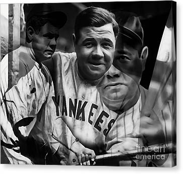 Babe Ruth Collection Canvas Print by Marvin Blaine