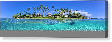 Baby Beach Above And Below Canvas Print by Sean Davey