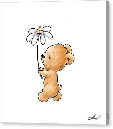 Baby Bear With Flower Canvas Print by Anna Abramska