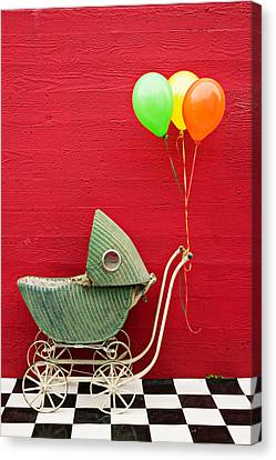 Baby Buggy With Red Wall Canvas Print by Garry Gay