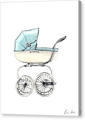 Baby Carriage In Blue - Vintage Pram English Canvas Print by Laura Row