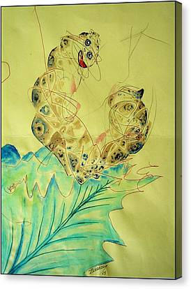Baby Caterpillar Canvas Print by Paulo Zerbato