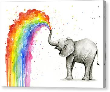 Baby Elephant Spraying Rainbow Canvas Print by Olga Shvartsur