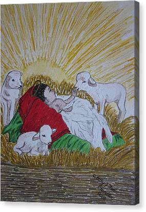 Baby Jesus At Birth Canvas Print by Kathy Marrs Chandler