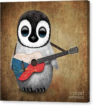 Baby Penguin Playing Czech Flag Guitar Canvas Print by Jeff Bartels