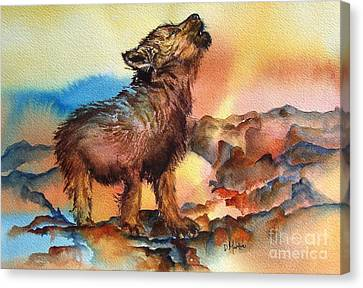 Baby Wolf Canvas Print by Donna Martin
