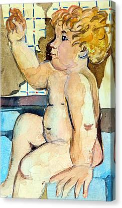 Babys Bath Canvas Print by Mindy Newman