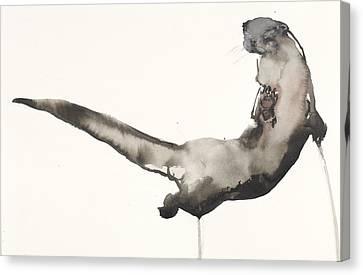 Back Awash   Otter Canvas Print by Mark Adlington
