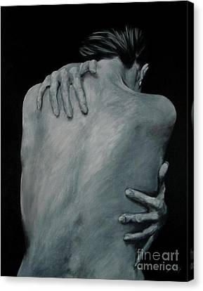 Back Of Naked Woman Canvas Print by Jindra Noewi