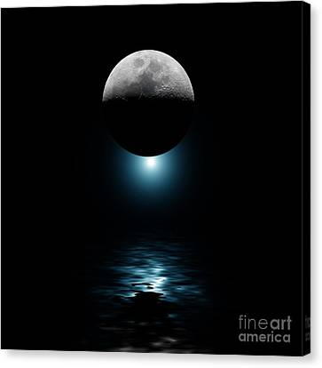 Backlit Moon And Blue Star Over Water Canvas Print by Simon Bratt Photography LRPS