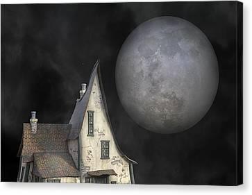 Backyard Moon Super Realistic  Canvas Print by Betsy Knapp