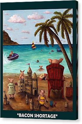 Bacon Shortage With Lettering Canvas Print by Leah Saulnier The Painting Maniac