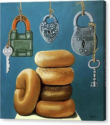 Bagels And Locks Canvas Print by Linda Apple