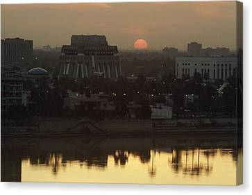 Baghdad And The Tigris River At Sunset Canvas Print by Lynn Abercrombie