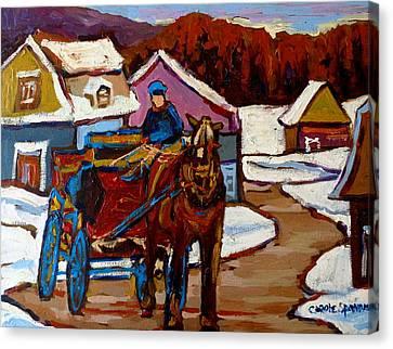 Baie Saint Paul Quebec Country Scene Canvas Print by Carole Spandau