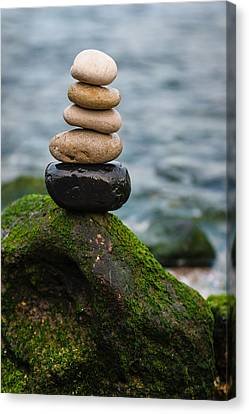 Balancing Zen Stones By The Sea IIi Canvas Print by Marco Oliveira