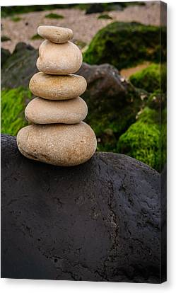 Balancing Zen Stones By The Sea V Canvas Print by Marco Oliveira
