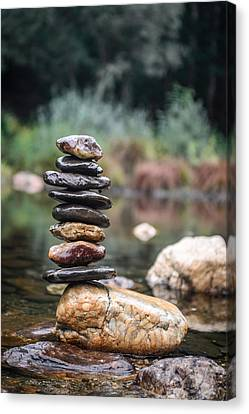 Balancing Zen Stones In Countryside River I Canvas Print by Marco Oliveira