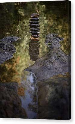 Balancing Zen Stones In Countryside River X Canvas Print by Marco Oliveira