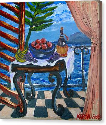 Balcony By The Mediterranean Sea Canvas Print by Karon Melillo DeVega