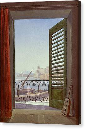 Balcony Room With A View Of The Bay Of Naples Canvas Print by Carl Gustav