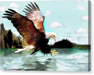 Bald Eagle Painting Watercolor Fine Art Print Canvas Print by Vya Artist