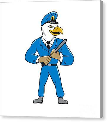 Bald Eagle Policeman Baton Cartoon Canvas Print by Aloysius Patrimonio