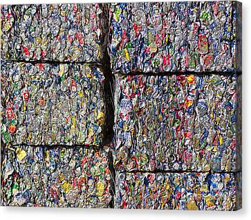 Bales Of Aluminum Cans Canvas Print by David Buffington