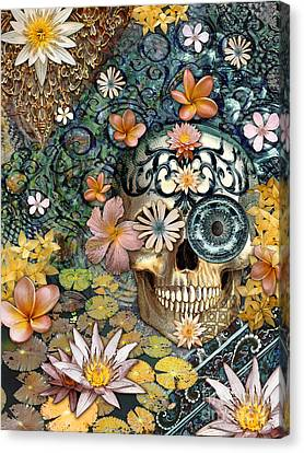 Bali Botaniskull - Floral Sugar Skull Art Canvas Print by Christopher Beikmann