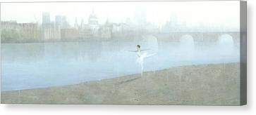 Ballerina On The Thames Canvas Print by Steve Mitchell