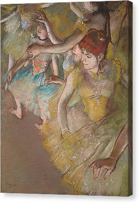 Ballet Dancers On The Stage 1883 Canvas Print by Edgar Degas