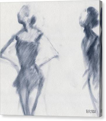 Ballet Sketch Hands On Hips Canvas Print by Beverly Brown Prints